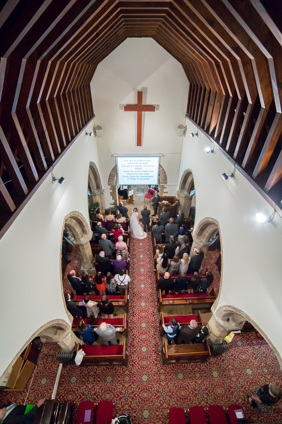 Bedford Wedding Photographer: St Thomas a Beckett church in Clapham has a rather high balcony!