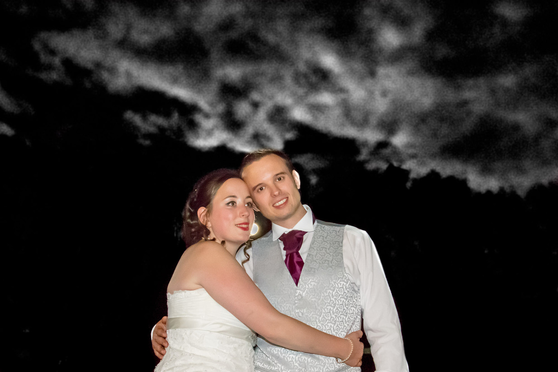 Bedford Wedding Photographer: Moonlit night time portrait of the bride and groom