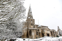 Snow at St Andrews church, Brigstock, near Corby, Northamptonshire