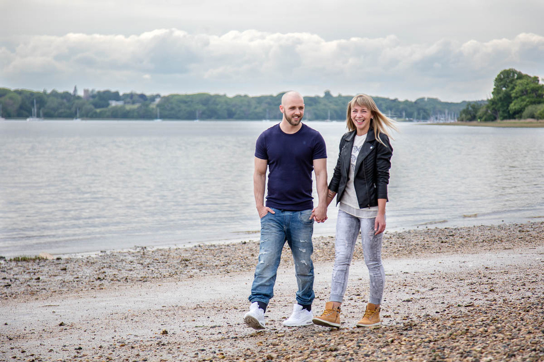 Suffolk Wedding Photographer: Engagement Shoot: Seaside Stroll and Scramble at Nacton Shores, Ipswich